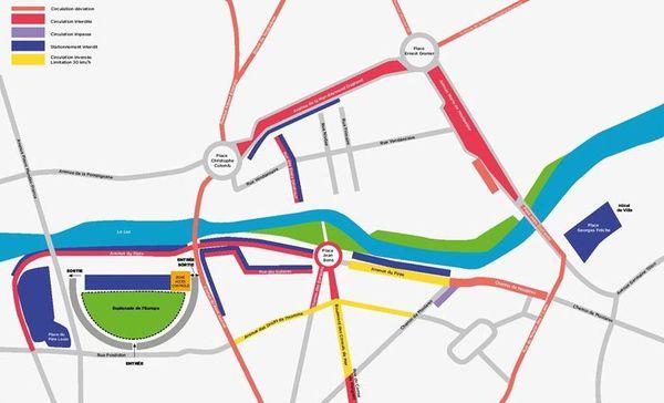 Le plan de circulation modifié à Montpellier durant le FISE 2019.