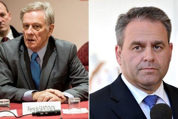 Pierre de Saintignon et Xavier Bertrand, candidat pour les élections régionales Nord Pas-de-Calais Picardie.