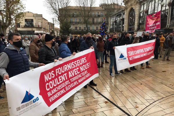 Narbonne (Aude) - manifestation de l'UMIH - 15 décembre 2020.