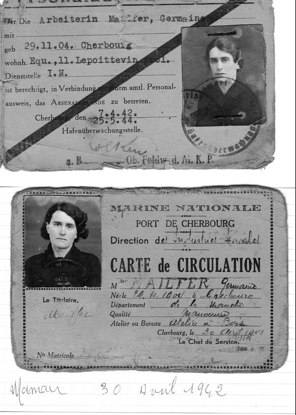 Mon arrière-grand-mère veuve depuis 1932 et mère de 4 enfants travaillait déjà à l'Arsenal de Cherbourg avant la Seconde Guerre Mondiale. D'abord à l'atelier bois puis à l'atelier couture à l'époque où les bleus de travail étaient faits sur place. Durant le conflit, elle se rendait à son travail grâce à notamment à cette  carte d'Arbeiterin ( ouvrière en allemand) .  Ses 4 enfants comme beaucoup de petits cherbourgeois avaient été envoyés à la campagne, dans le Sud Manche pendant presque deux ans.