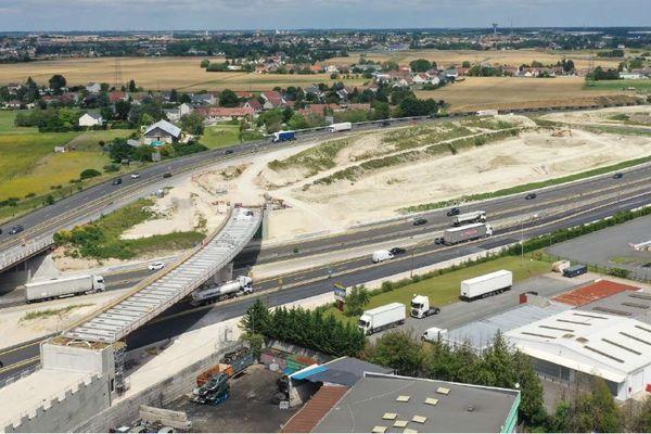 Le chantier d'aménagement de l'A10 au nord d'Orléans