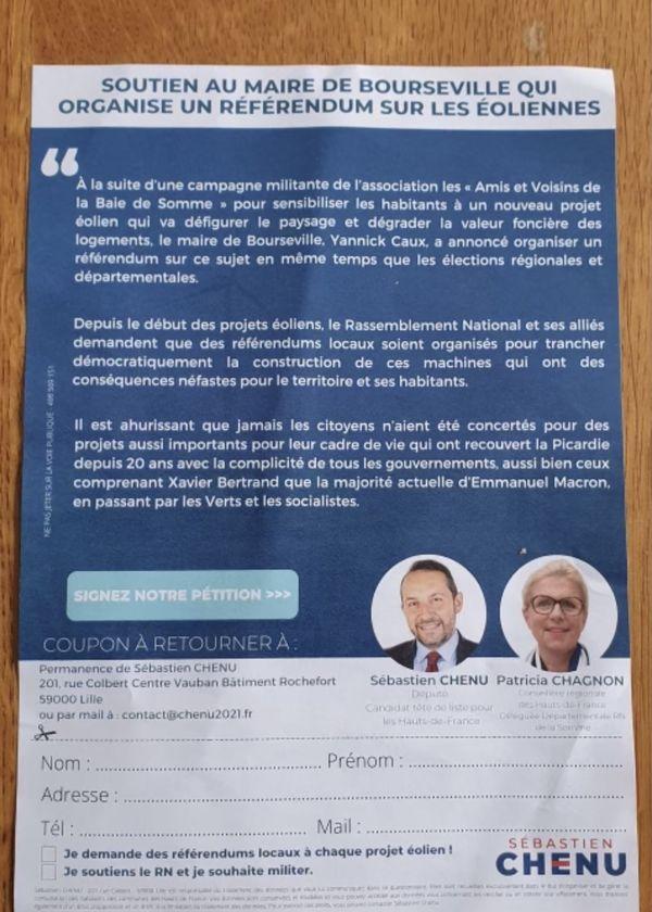 Le tract du Rassemblement National en soutien au maire de Bourseville