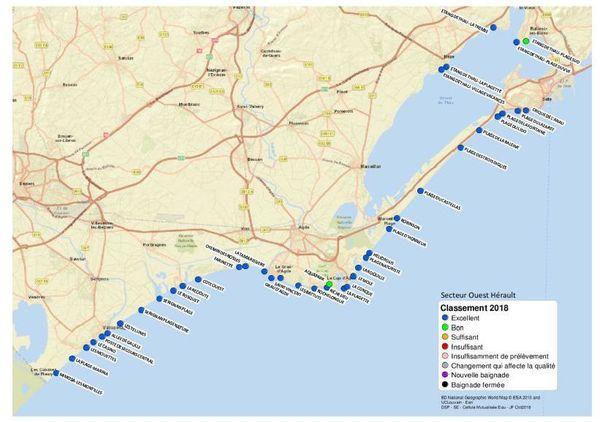 Carte de la qualité des eaux de baignade en mer dans l'Hérault-ouest.