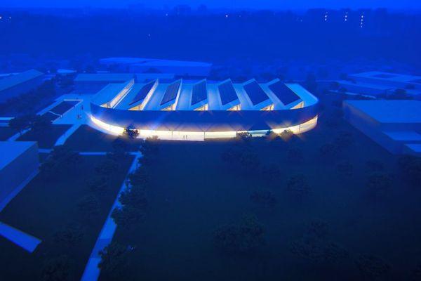 Le futur stade couvert d'athlétisme de Limoges, vu de nuit