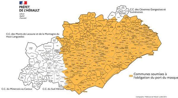 Cartographie communes soumises à lobligation du port du masque à partir du 22 juillet 2021.