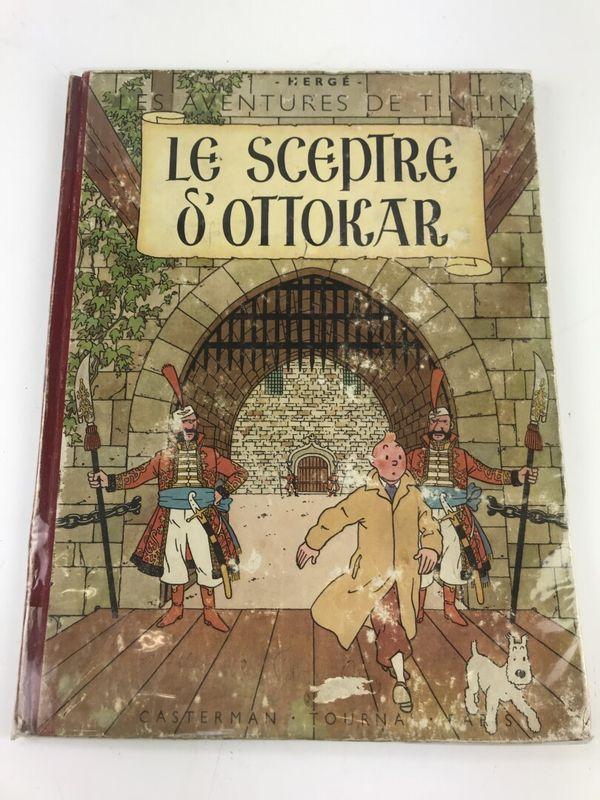 """Cet exemplaire de 1947 de """"Tintin et le sceptre d'Ottokar"""" malgré des détériorations devrait intéresser."""