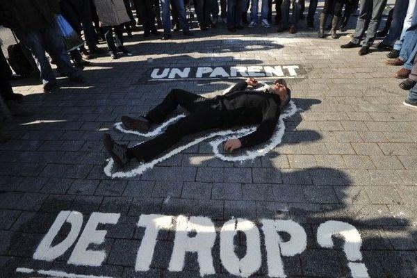 """Serge Charnay le héros de l'association """"SVP Papa"""" en 2013 à Nantes."""