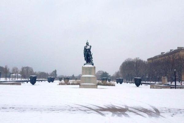 Esplanade de Metz sous la neige, mardi 15 janvier 2013