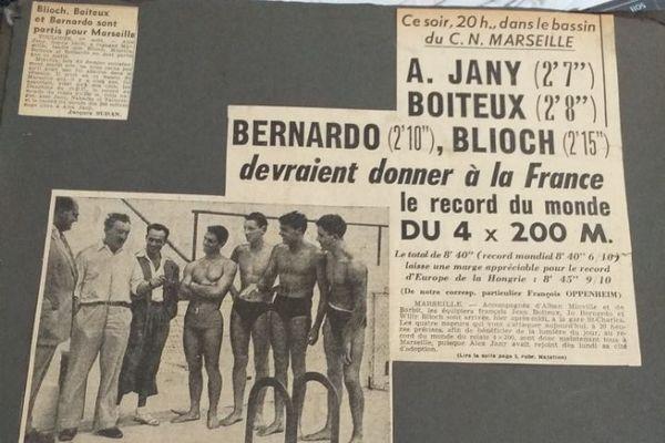 Coupure de presse datant du jour du record du monde du 4 x 200 m réalisé en 1951.