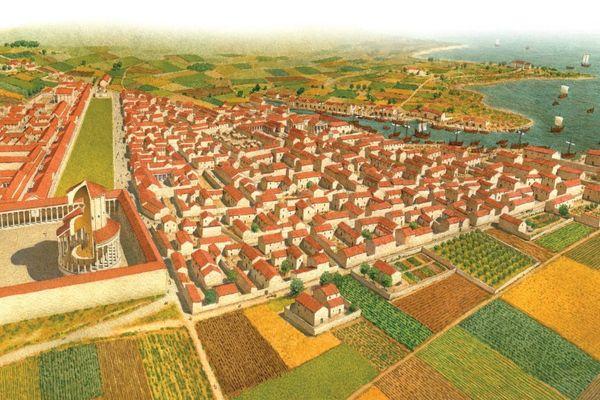 Une reconstitution du site portuaire de Barzan à la période antique.