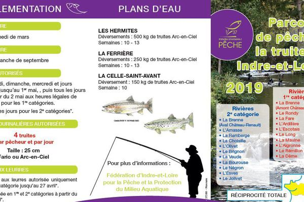 Plaquette de réglementation de la pêche à la truite en Indre-et-Loire