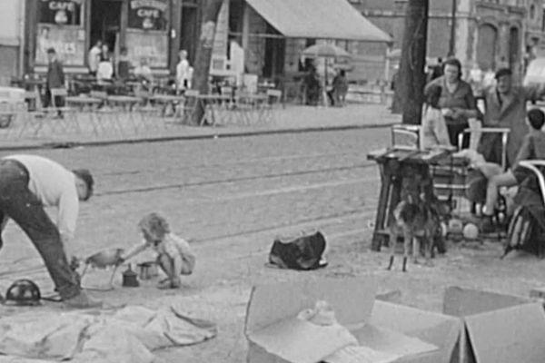 Les préparatifs de la Braderie de Lille en 1963
