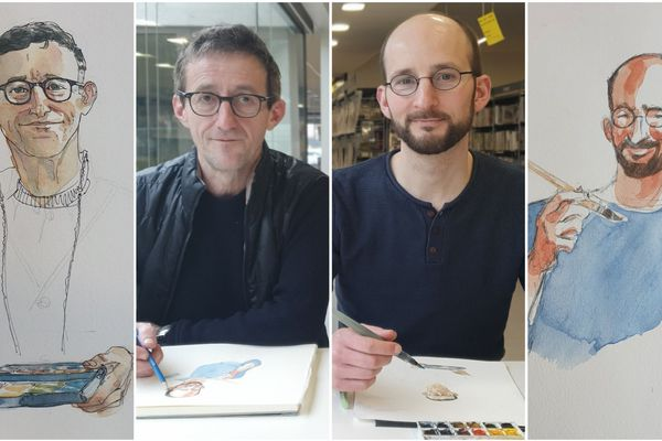 Thierry Doudoux à gauche et Benoît Blary, à droite, exposent leurs dessins de justice à la médiathèque de Cormontreuil jusqu'au 26 février prochain
