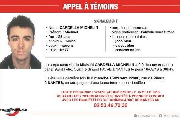 Le corps de  Mickaël Cardella Michelin a té repêché dans le canal Saint-Félix à  Nantes, le 19 septembre 2019