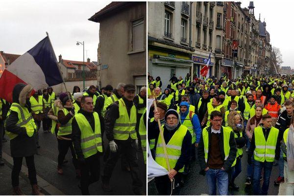 """La marche des """"gilets jaunes"""" à Reims (ici à gauche) et à Charleville-Mézières (ici à droite)."""