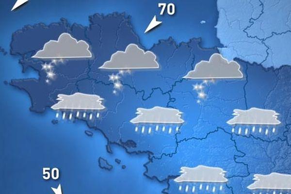 Carte de Météo France pour LUNDI