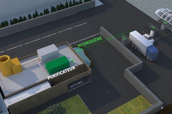 Vue en transparence du futur site de production d'hydrogène vert de Strasbourg où la biomasse sera transformée en hydrogène pur