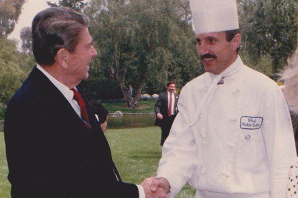Michel Grobon et Ronald Reagan, 40e président des États-Unis