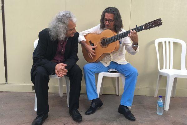 Paco el Lobo et José Galvez en répétition dans les jardins de l'Atalaya.