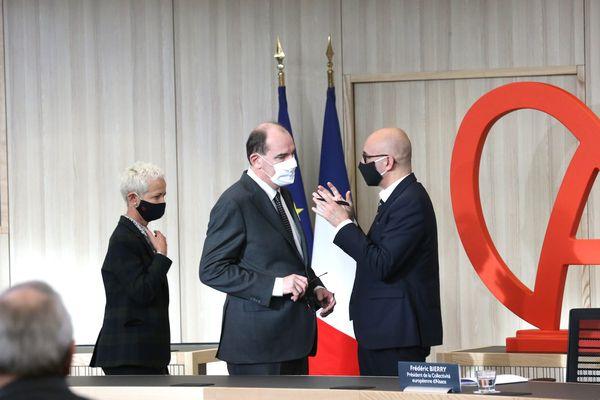 Jean Castex et Frédéric Bierry lors de la visite du premier ministre samedi 23 janvier à la communauté européenne d'Alsace
