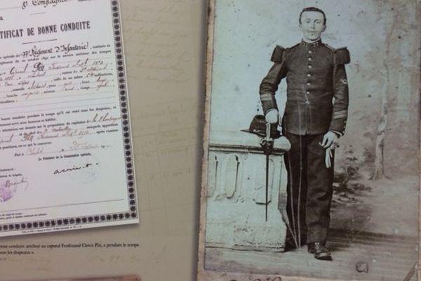 Le caporal Ferdinand Clovis Pin, soldat au 325ème Régiment d'infanterie.
