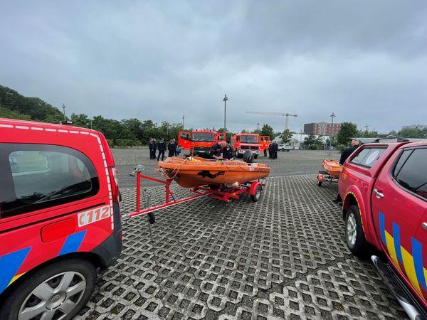 Seuraing, l'un des points de rassemblement des secours et des victimes près de Liège.