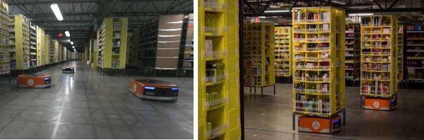 Robots à tous les étages. Ce sont eux qui vont chercher les marchandises à expédier.