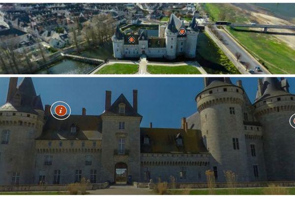 Captures écran de la visite virtuelle du château de Sully-sur-Loire