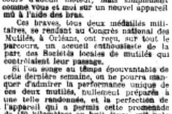 De Mâcon à Orléans en Vélocimane! deux blessés de guerre avaient effectués 450 kilomètres en huit jours à la force des bras  pour participer au Congrès national des Mutilés.