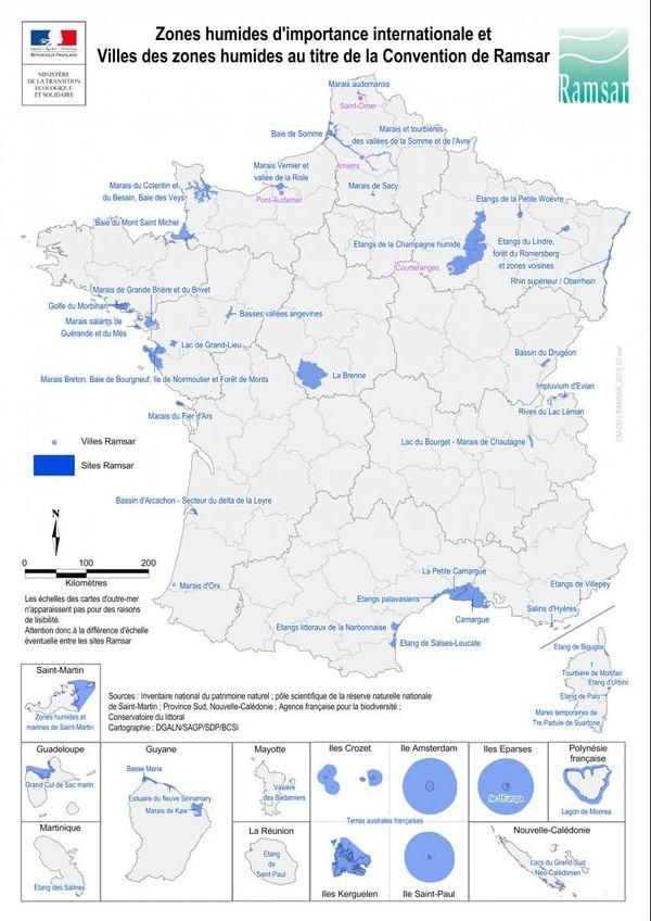 Les zones Ramsar en France, fin 2019.