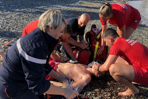 28/06/2018 - Exercice de secours à une personne noyée sur la plage de Miomo (Haute-Corse)