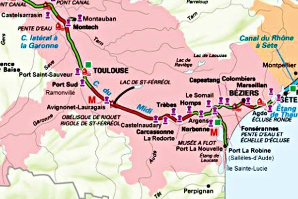 Le canal du Midi, de Sète à Toulouse