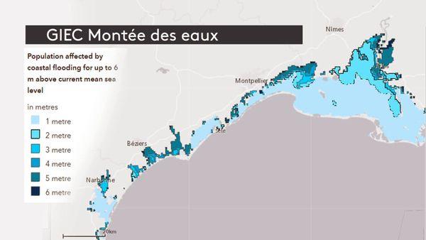Projections du Giec de la montée des eaux de la Méditerranée sur le littoral d'Occitanie, de 1 à 6 mètres.