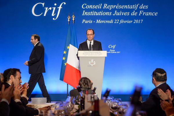 François Hollande, lors du dîner annuel du Crif à Paris, le 22 février 2017.