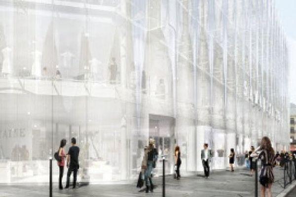 Nouvelle facade en verre de la Samaritaine prévue côté rue de Rivoli
