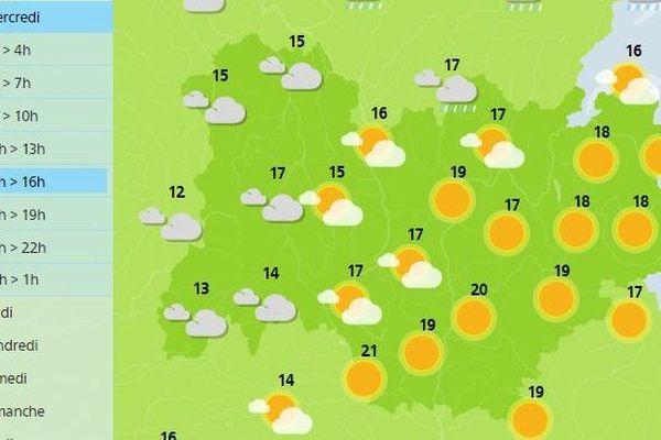 Capture d'écran des prévisions météorologiques de Météo France pour la journée du mercredi 11 mars.