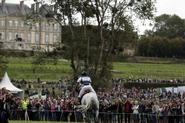 Le concours complet au haras du Pin le 30 août 2014, épreuve de cross country, pendant les jeux équestres mondiaux.