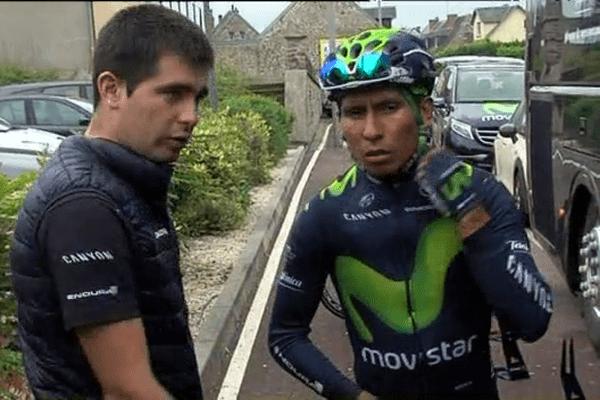 Le Colombien Nairo Quintana, cet après-midi à Lessay dans la Manche.