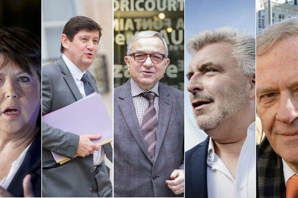 Martine Aubry, Patrick Kanner, Claude Gewerc, Frédéric Cuvillier et Pierre de Saintignon sont candidats déclarés ou non aux élections régionales de Picardie - Nord-Pas de Calais.