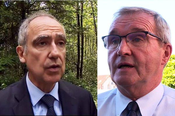 Frédéric Périssat (à gauche), Préfet de Dordogne retoque les trois projets votés par le Conseil Départemental de Germinal Peiro en avril dernier