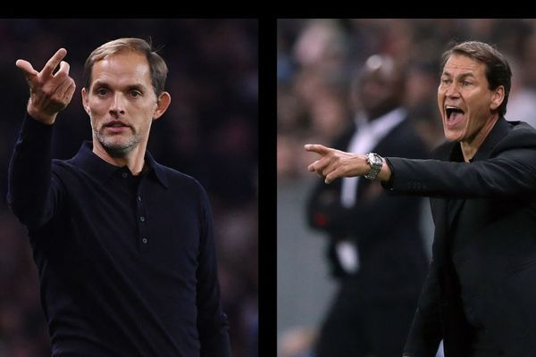 Les entraîneurs Thomas Tuchel (PSG) et Rudi Garcia (OM).