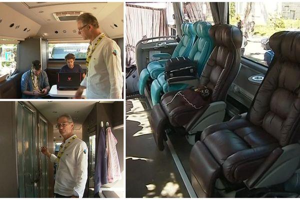 Le bus des cyclistes français du Tour de France est bien équipé.