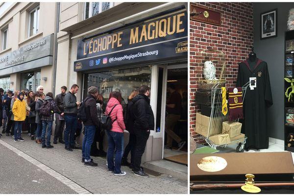 Avant même l'heure de l'ouverture, près de 100 fans d'Harry Potter faisaient la queue pour acheter baguettes, cravates, peluches et tasses de l'univers du petit sorcier.