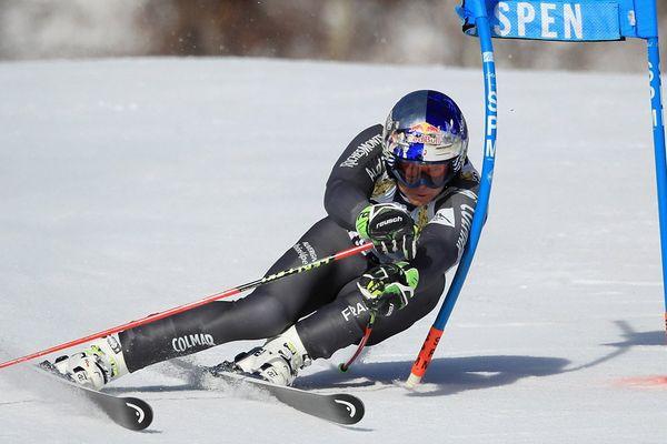 Alexis Pinturault lors du slalom géant de la finale de la Coupe du monde de ski FIS 2017 le 18 mars 2017 à Aspen (Colorado).
