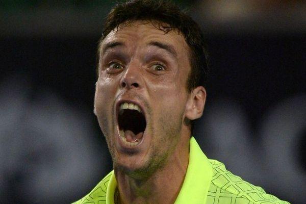 Roberto Baustita, vainqueur de del Potro à l'Open de tennis d'Australie, à la fin du match