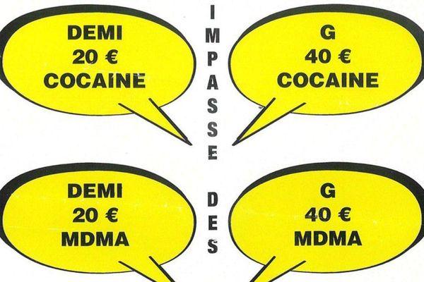 Extrait du prospectus ventant la vente de drogue à Nice-est, retrouvé dans le quartier d'Acropolis ce jeudi.