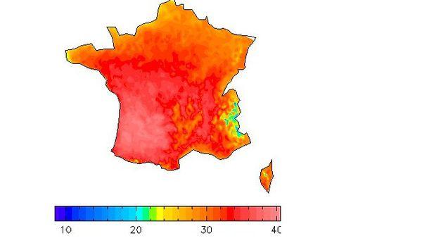 Prévision des températures maximales du mardi 30/06/2015