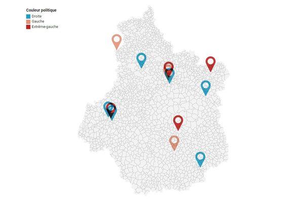 Notre carte représente les villes qui ont toujours voté pour un parti de droite/centre-droit, gauche, ou extrême-gauche aux 5 dernières élections municipales.