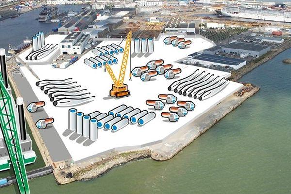 Les quais de Saint-Nazaire tels qu'ils pourraient être aménagés pour accueillir les Énergies Marines Renouvelables