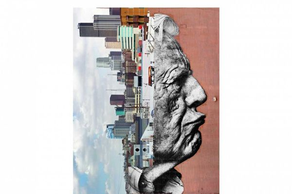 JR, The wrinkles of the city, Los Angeles‐Robert Upside Down,   Downtown, USA, 2011